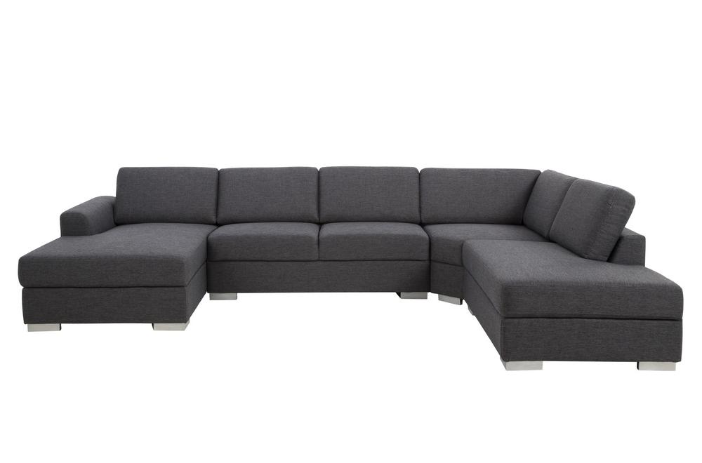 Canapé D'Angle En Tissu De Qualité 6/7 Places, Adelo, Gris ... serapportantà Canape Premium Confort Gris Angle Droit