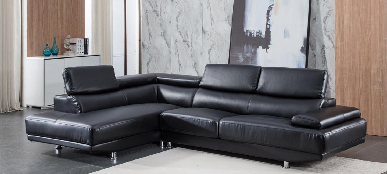 Canapé D'Angle Gauche Cuir Noir - Hudson avec Canapé D'Angle Eternity