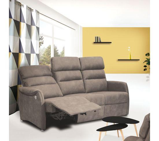 Canapé De Relaxation Électrique 3 Places Gris - Softy ... concernant Canape Relax 3 Place Menphis