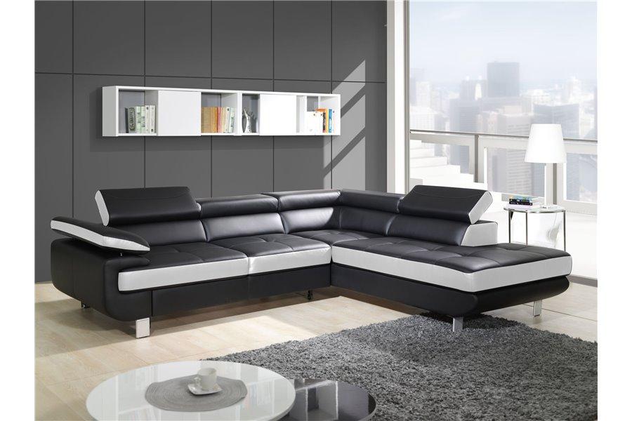Canapé Design D'Angle Studio - Cuir Pu Noir - Canapés D ... à Canapé D'Angle Cuir Ikea