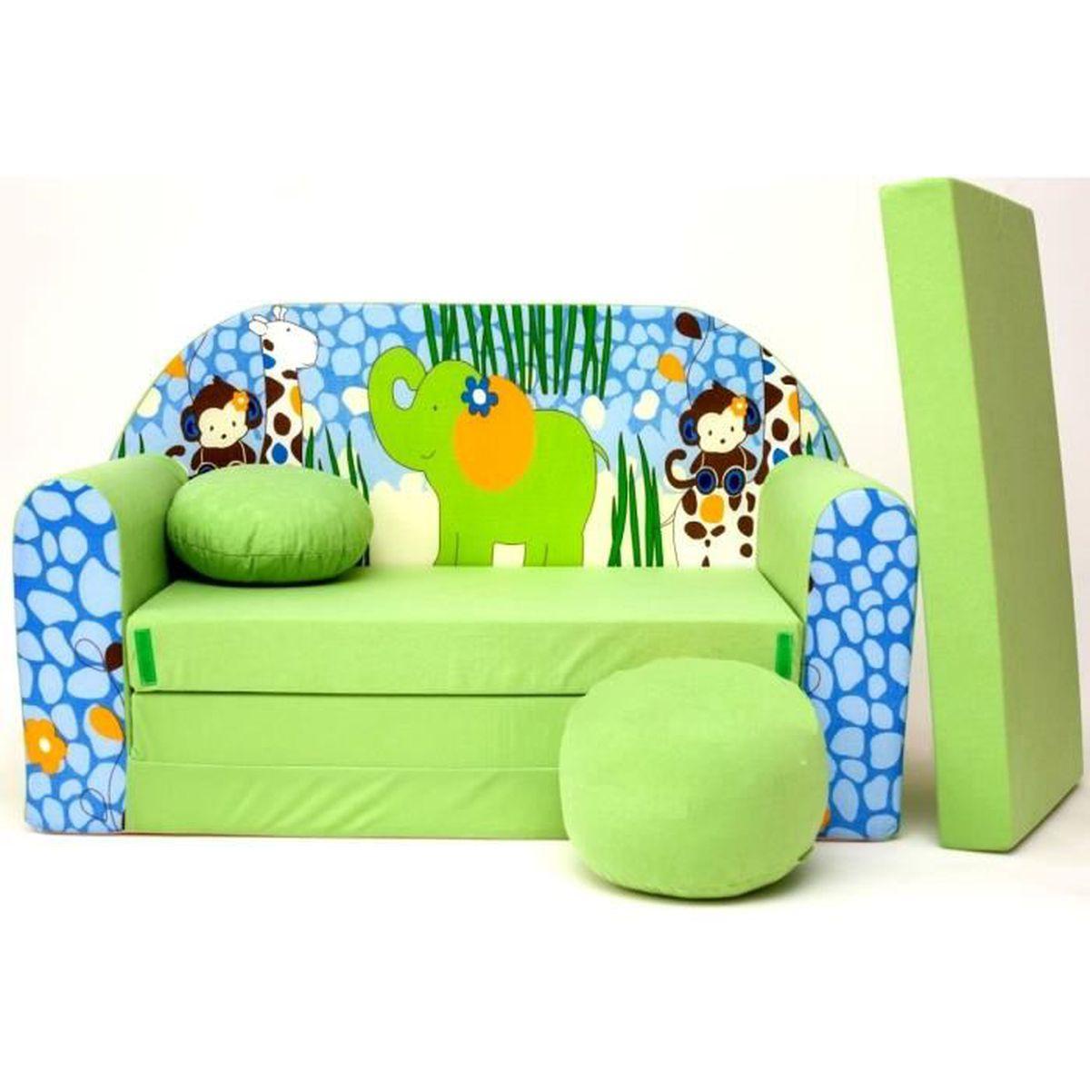 Canape Sofa Enfant 2 Places Convertible Zoo Afrique ... concernant Minnie Canapé Mousse Sofa - Disney Baby