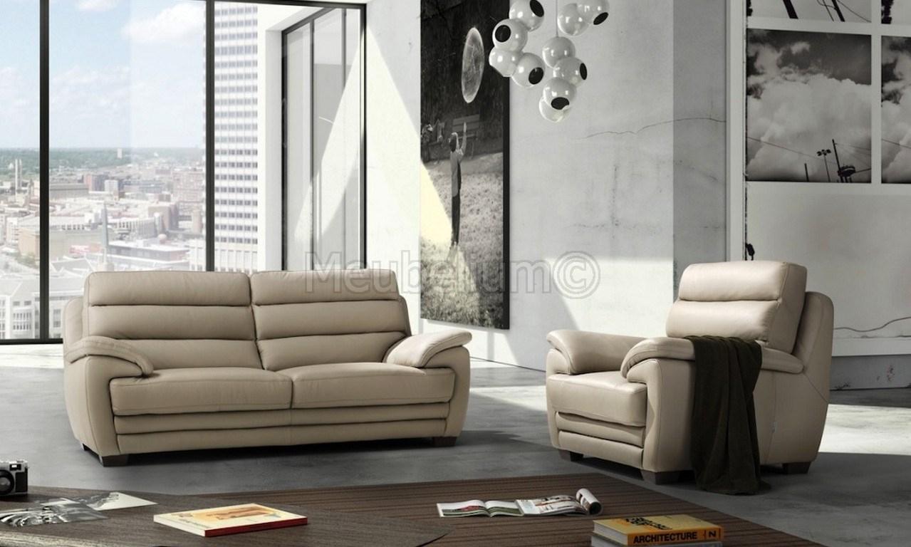 Canapé Ultra Design 3 + 2 Coloris Beige Clair Smiley pour Canapé Cuir Pas Cher Déstockage