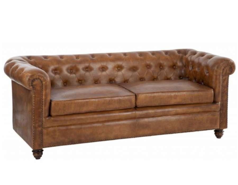 Canapé Vintage Cuir Anglais Forme Chesterfield concernant Canape Cuir Anglais Chesterfield Occasion