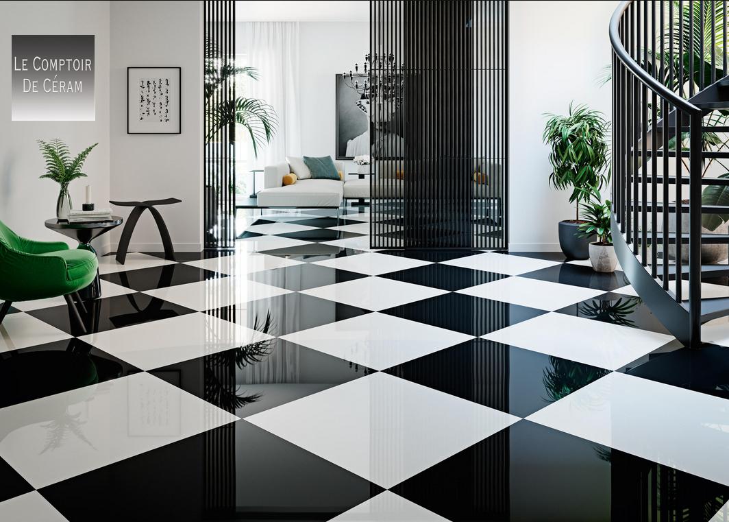 Carrelage Grès Cérame Sol Poli Brillant Miroir Noir Et ... tout Carrelage Damier Noir Et Blanc Brillant