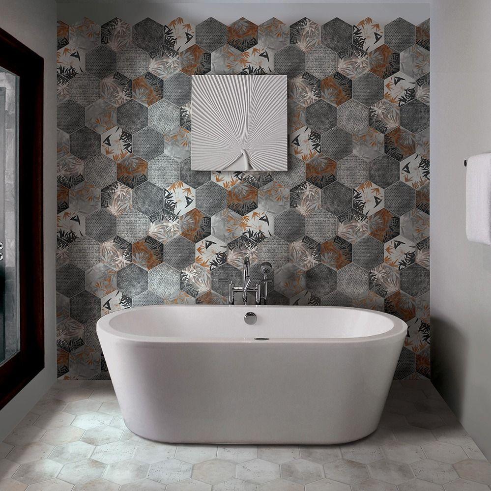Carrelage Hexagonal Imitation Carreaux De Ciment 24X27,7 ... avec Lino Imitation Carrelage Hexagonal