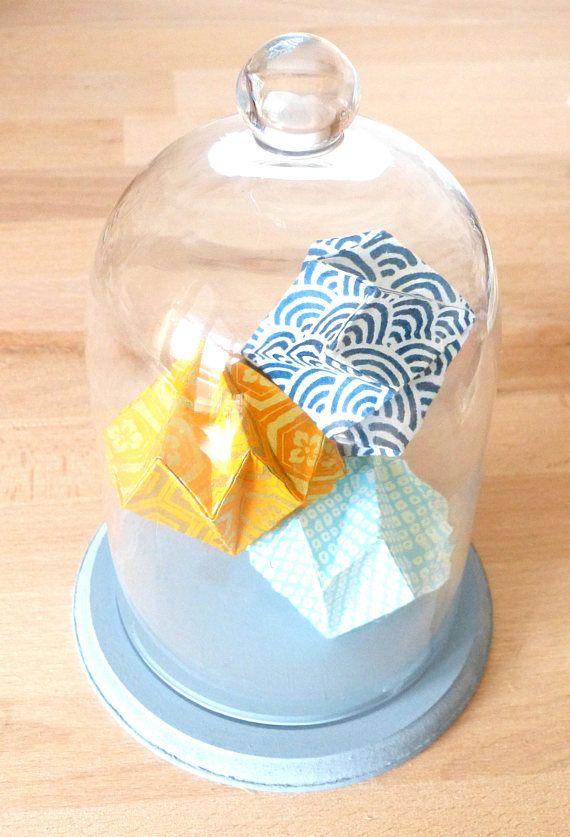 Cloche Origami Diamants Bleu, Jaune, Or - Origami Sous ... à Cloche De Maraîcher En Verre