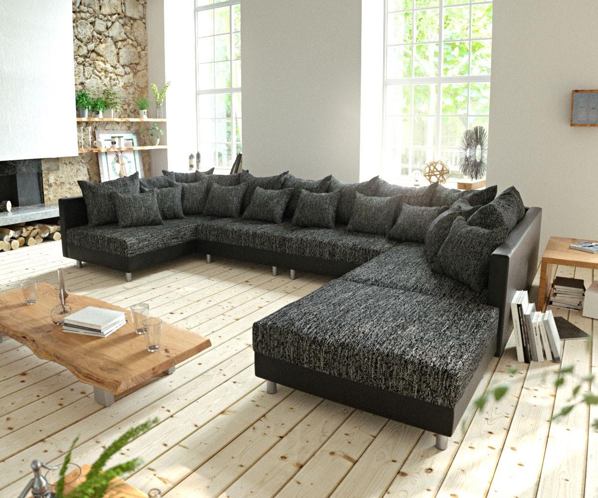 Couch Clovis Xl Schwarz Mit Hocker Wohnlandschaft ... à Sofa Mit Hocker Quinn