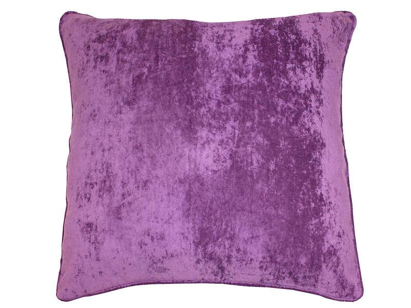 Coussin 60X60 Cm Velours Coloris Violet - Vente De Coussin ... dedans Housse Coussin Velours 60X60
