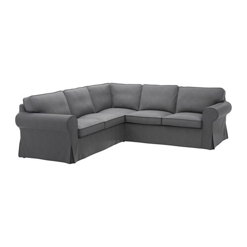 Ektorp Canapé D'Angle, 4 Places - Nordvalla Gris Foncé - Ikea concernant Canapé Gris Chiné Ikea