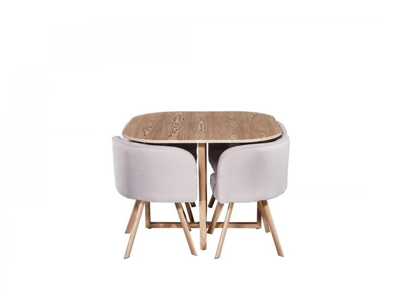 Ensemble Table + 4 Chaises Encastrables Beige Flen - Vente ... destiné Table Avec Chaise Encastrable Conforama