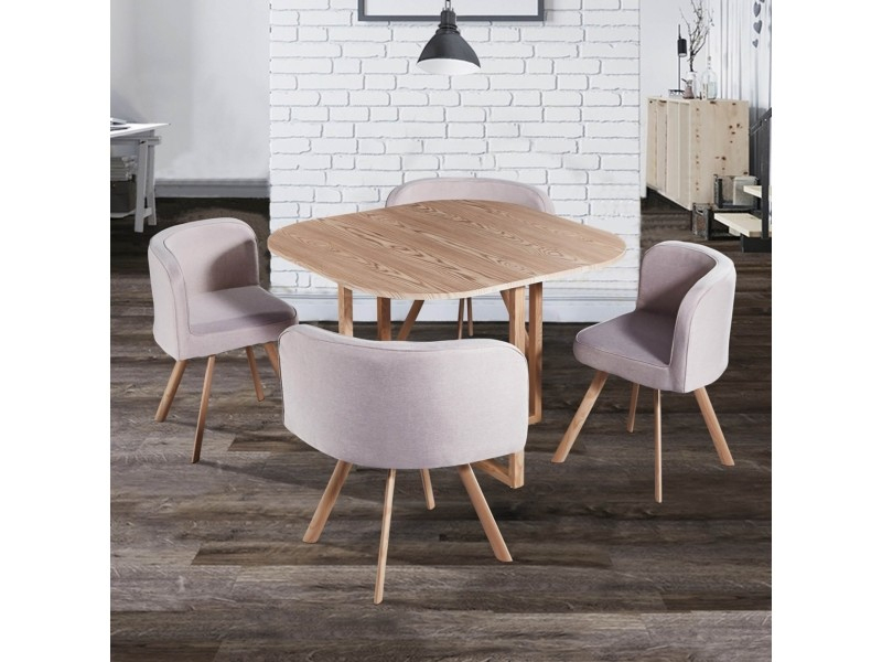 Ensemble Table + 4 Chaises Encastrables Beige Flen - Vente ... intérieur Table Avec Chaise Encastrable Conforama