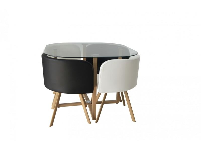 Ensemble Table + 4 Chaises Encastrables Noir Et Blanc Flen ... intérieur Table Avec Chaise Encastrable Conforama