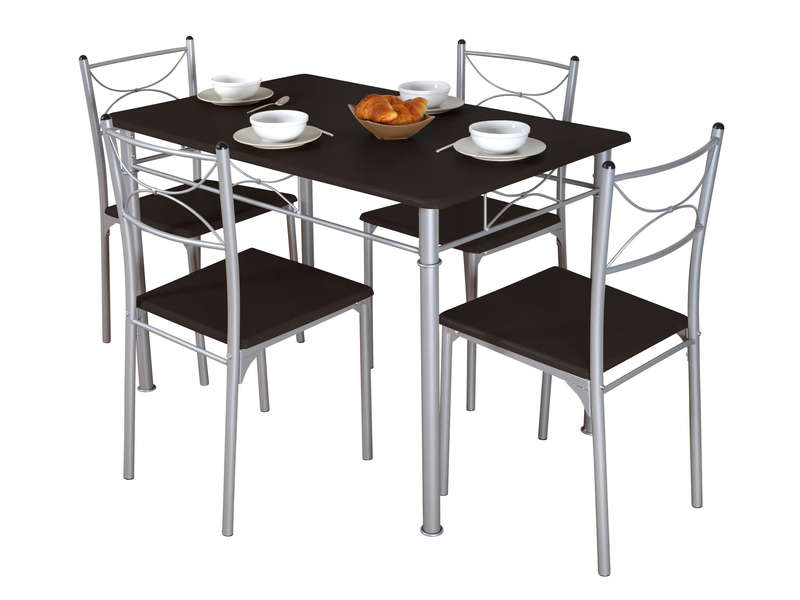 Ensemble Table + 4 Chaises Sernan Coloris Gris/Wengé ... dedans Table Avec Chaise Encastrable Conforama
