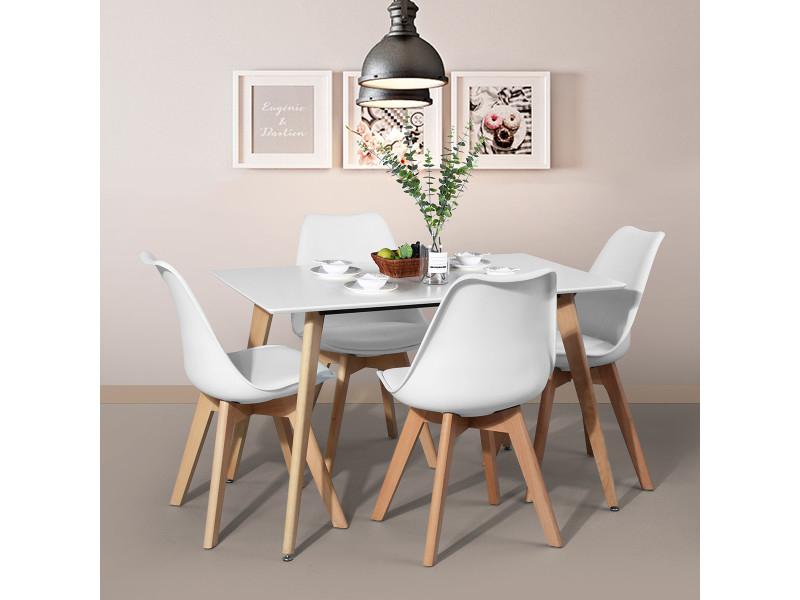 Ensemble Table À Manger Rectangulaire Et 4 Chaises ... serapportantà Table Avec Chaise Encastrable Conforama