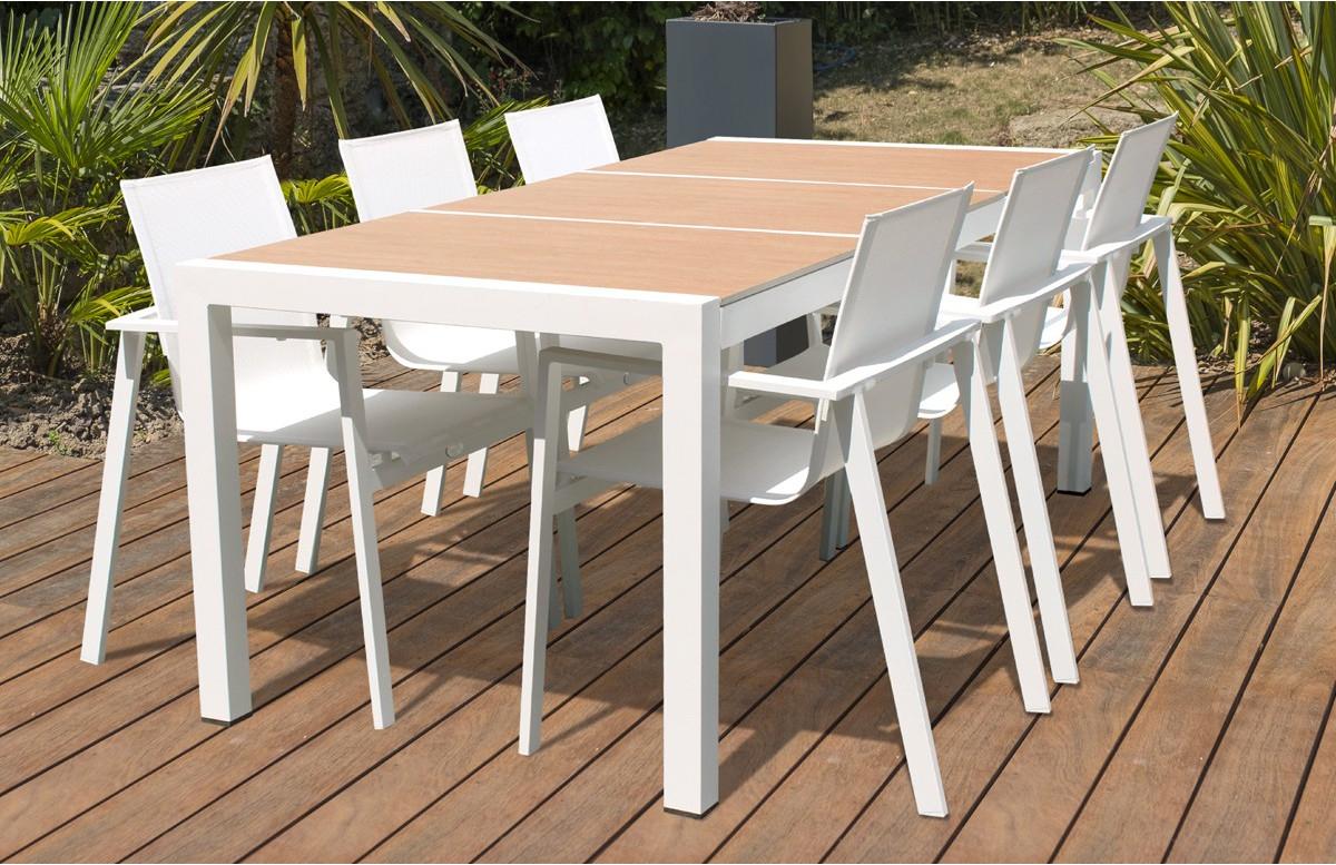Ensemble Table Helsinki + 6 Fauteuils Coloris Blanc - Le ... encequiconcerne Tonnelle Adossée Helsinki