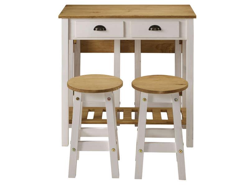 Ensemble Table Pliante + 2 Tabourets En Bois Massif ... dedans Table Avec Chaise Encastrable Conforama