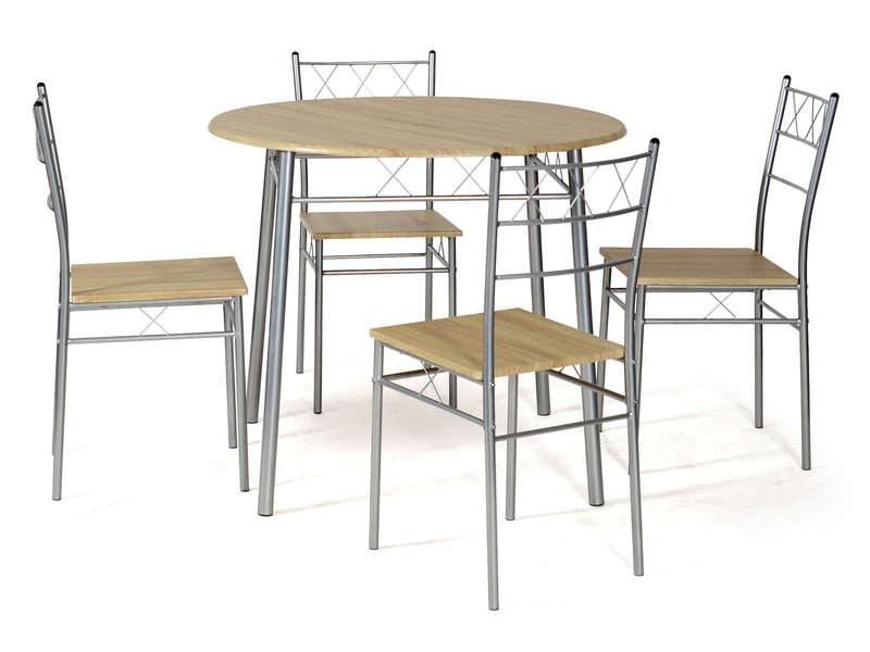 Ensemble Table Ronde Et 4 Chaises De Cuisine Lota Coloris ... destiné Table Avec Chaise Encastrable Conforama