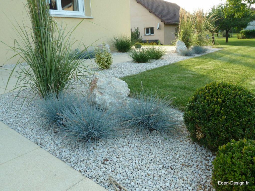 Entrée De Maison | Amenagement Jardin, Idées Jardin Et Jardins pour Parterre Gravier