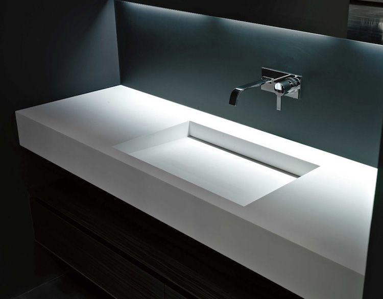 Évier Inox Et Vasque En Corian- 2 Lavabos Minimalistes De ... tout Vasque Design Italien