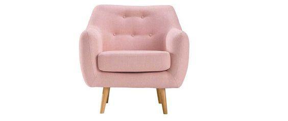 Fauteuil Design Tissu Vieux Rose Pieds Bois Clair Olaf ... intérieur Fauteuil Rose Poudré Gifi