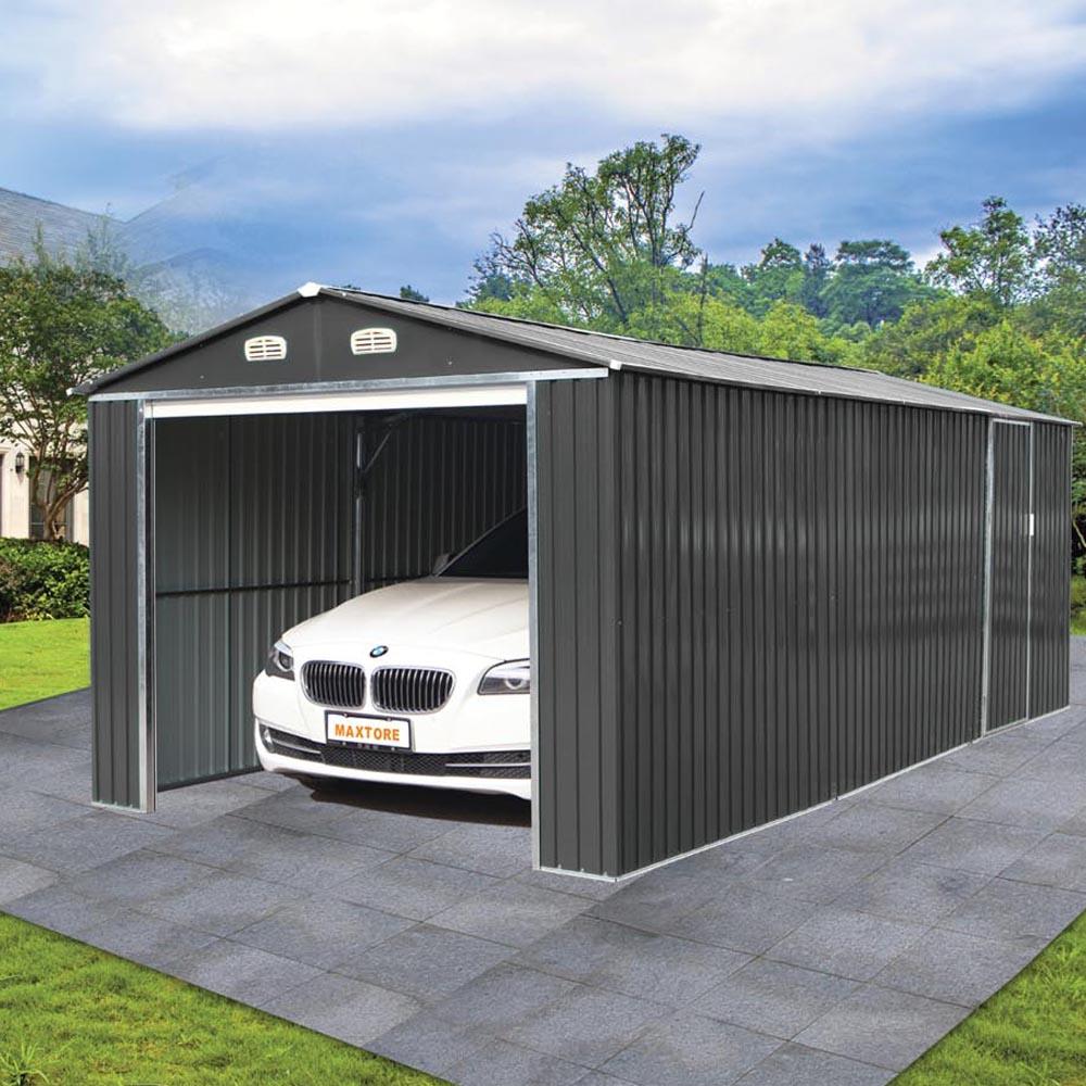Garage Métal 3X4,95M, Avec Porte Électrique À Télécommande ... serapportantà Abri Camping Car Brico Depot
