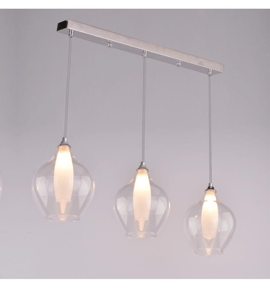 Hängeleuchte - 3 -Flammig Design Transparent Glas - Vietra intérieur Tube Transparent Rigide Leroy Merlin