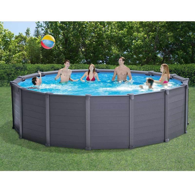 Intex Graphite Panel Pool - 478 X 124 Cm - Met ... encequiconcerne Piscine Intex Graphite 4 17