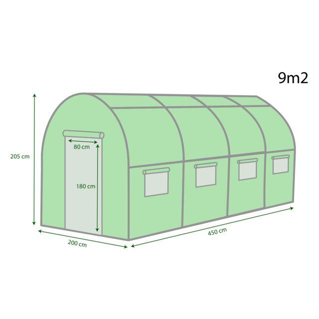 Jt2D - Serre De Jardin Tunnel - Bache Armée - 9M2, 4,5X2M ... intérieur Serre Tunnel 9M2