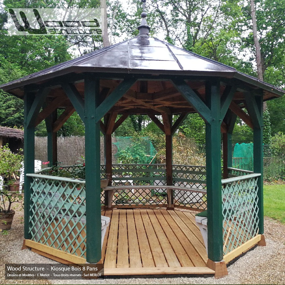 Kiosque Bois 8 Pans - Wood Structure Charpente Bois tout Kiosque En Bois Occasion