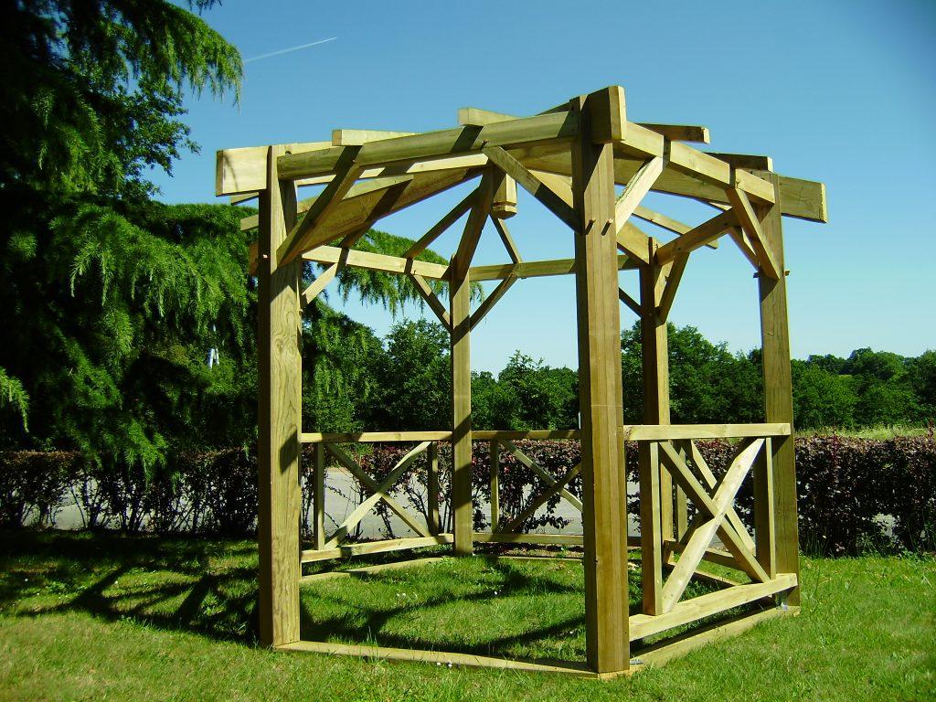 Kiosque De Jardin Bois Octogonal — Lamichaure pour Gloriette Bois Occasion