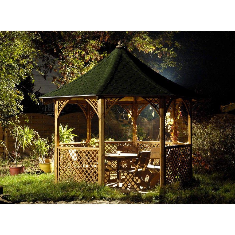 Kiosque Octogonal Chopin En Bois Traité Ø 3M46 - 9.60 M2 ... à Kiosque En Bois Occasion