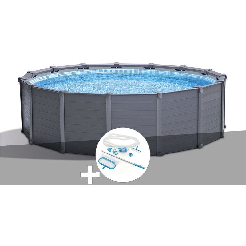 Kit Piscine Tubulaire Intex Graphite Ronde 4,78 X 1,24 M ... dedans Intex Graphite 4.78
