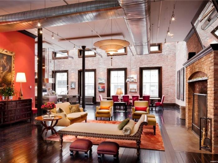 La Deco Loft New Yorkais En 65 Images - Archzine.fr à Decoration Brique Rouge Style Loft New Yorkais