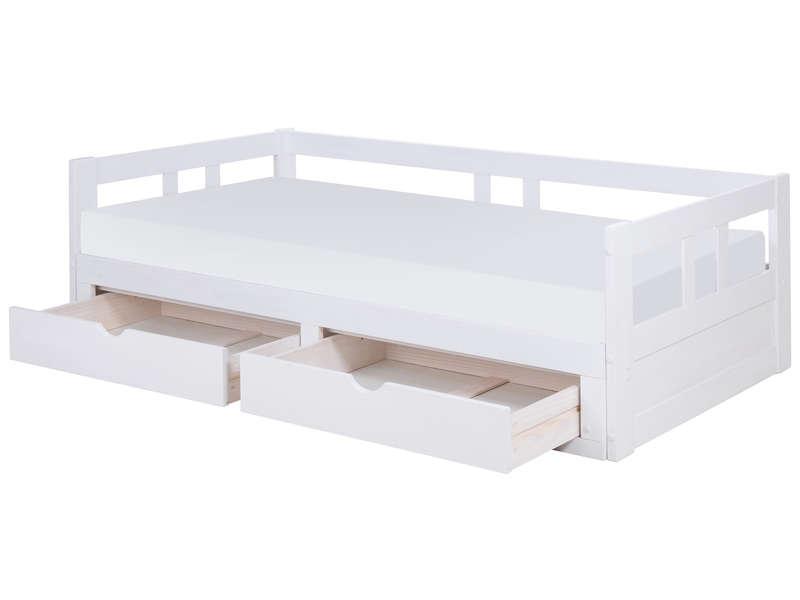 Lit Banquette 90X190 Cm Melody 2 Coloris Blanc - Vente De ... à Lit Banquette Fer Forgé Blanc Conforama