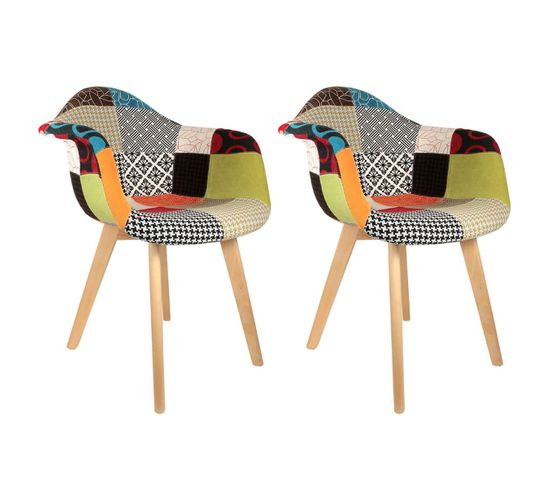 Lot De 2 Fauteuils Scandinaves Multicolore - Patchwork ... dedans Chaise Scandinave Patchwork But