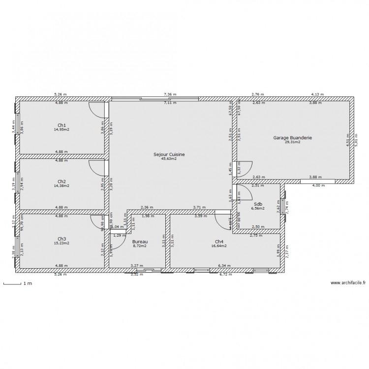 Maison Plein Pied 150M² - Plan 8 Pièces 151 M2 Dessiné Par ... avec Gertrud+Franck+Plan+Jardin