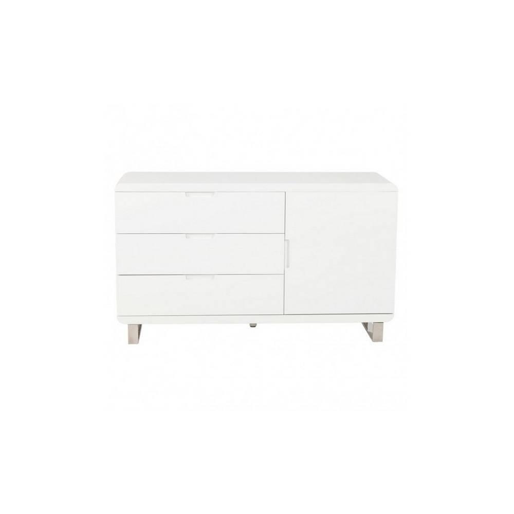Meuble Design, Bahut Commode Laqué Blanc Pieds Métal - Soho avec Plan Pour Bahut