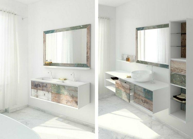 Meuble Vasque Salle De Bain En Bois Patiné Et Blanc Mat ... destiné Vasque Design Italien