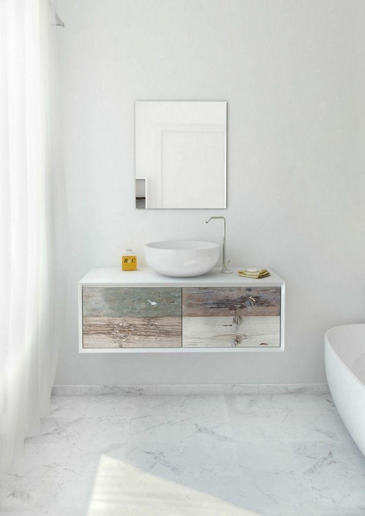 Meuble Vasque Salle De Bain En Bois Patiné Et Blanc Mat ... serapportantà Vasque Design Italien