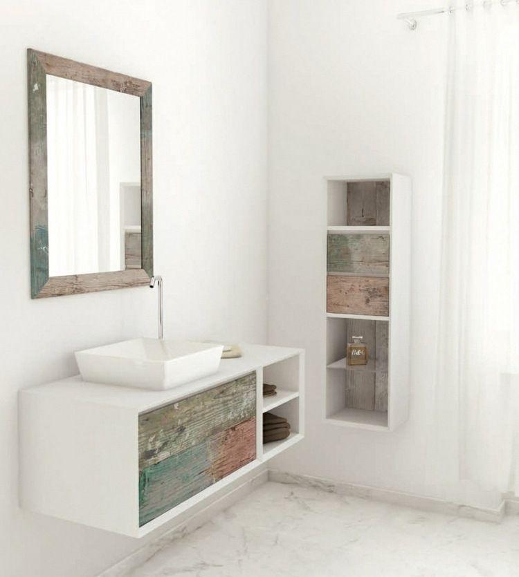 Meuble Vasque Salle De Bain En Bois Patiné Et Blanc Mat ... tout Vasque Design Italien