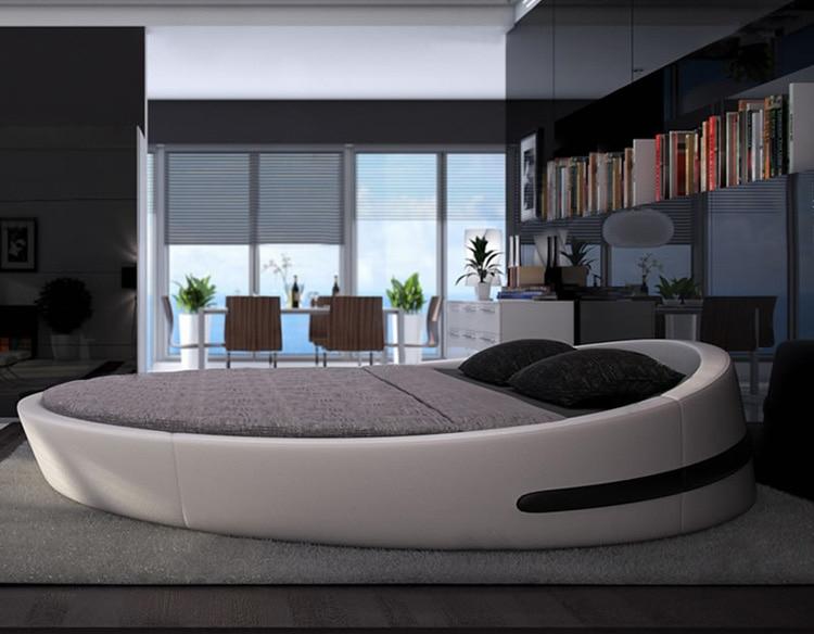 Mybestfurn Italie Design Lit Rond De Luxe De Grande Taille ... serapportantà Lit Rond Magasin