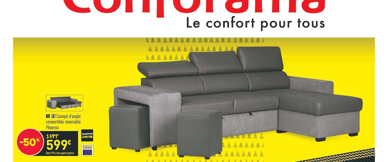 Offre Canapé D'Angle Convertible Calista Chez Conforama concernant Canapé Bravo Conforama