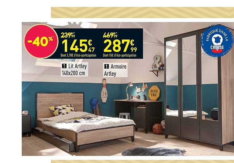 Offre Lit Artley 140X200 Cm, Armoire Artley Chez Conforama dedans Armoire Artley Conforama