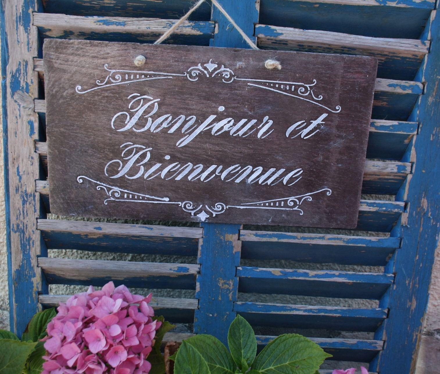 """Panneau En Ardoise """" Bonjour Et Bienvenue"""" : Décorations ... intérieur Panneau Ardoise Extérieur"""