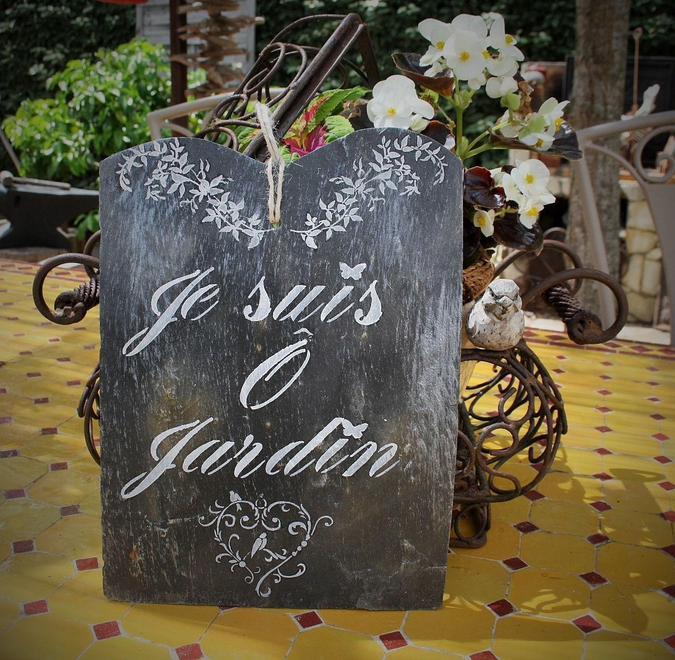 """Panneau En Ardoise """" Je Suis Ô Jardin"""" : Accessoires De ... dedans Panneau Ardoise Extérieur"""