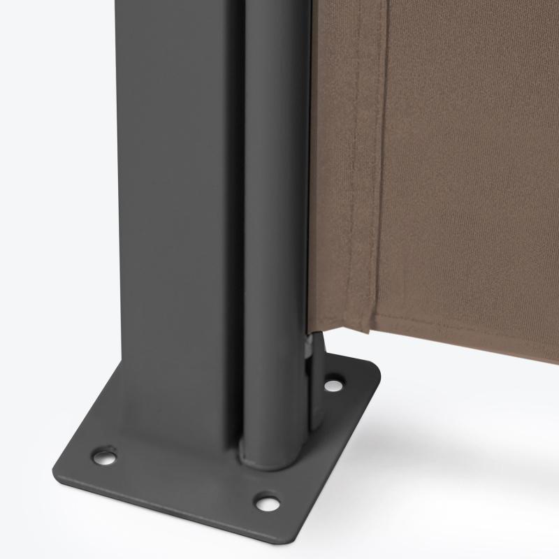 Paravent Extérieur Rétractable Double 800 X 160 Cm Taupe ... pour Paravent Rétractable 4M