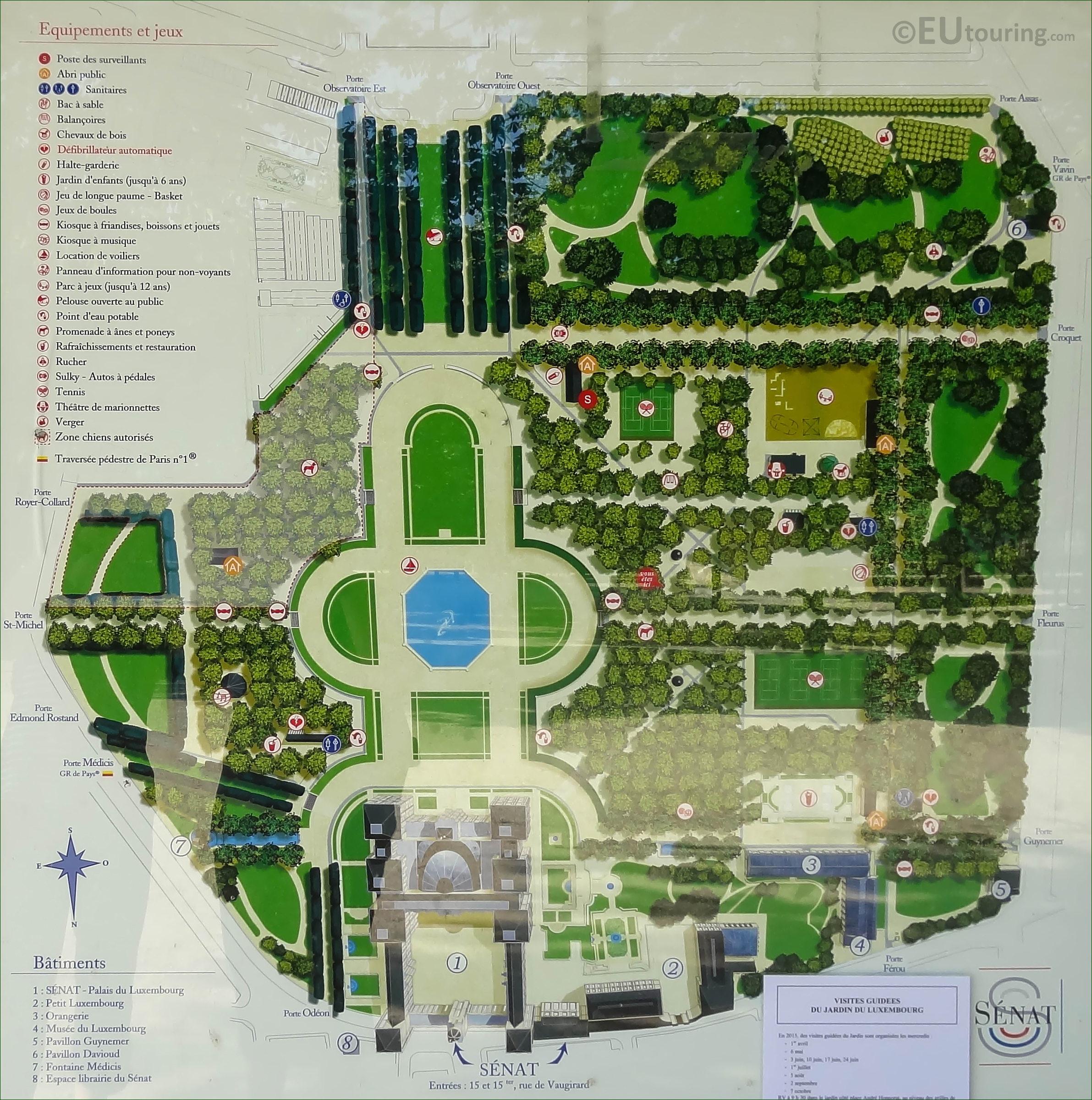 Photo Of Tourist Rmation Map Of Jardin Du Luxembourg ... concernant Plan De Jardin 56