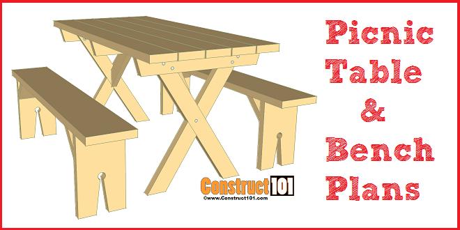 Picnic Table Plans Detached Benches - Free Pdf Download serapportantà Plan Table Picnic Pdf