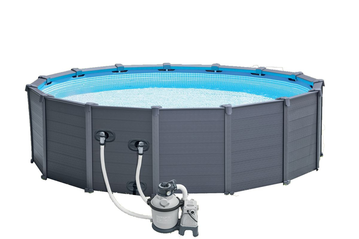 Piscine Intex Graphite 4,78X1,24 + Filtre A Sable (Ex ... avec Intex Graphite 4.78