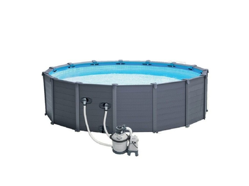 Piscine Tubulaire Graphite 4,78 X 1,24 M - Intex - Vente ... pour Intex Graphite 4.78